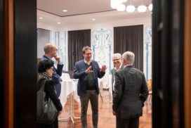 Einstimmung vor Beginn: Frau Clausen-Muradian, Hans-Joachim Mag (DMT), Dr. Stefan Birkner, Eckhard Schulte (DMT/von links)